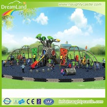 Tree house plastic kids outdoor playground set with climbing net