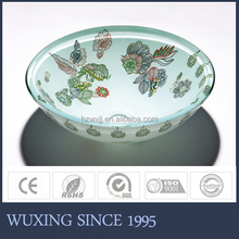 Small flower painting design beauty tempered polished washbasin double layer glass vessel