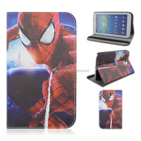 Spinning Spider-man PU Leather Tablet Case For Samsung Galaxy Tab 3 7inch P3200/T210/T211 That Can Flip Stand, Wholesale