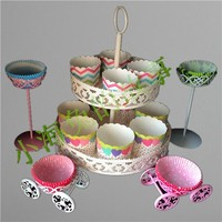 Hollow out cupcake metal dessert stand with a lace decoration