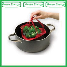 Custom Silicone Steamer With Small Handle /silicone steamer/silicone steamer basket