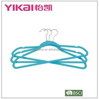Well-known flocking plastic clothes hanger with notches and bar in dark turquoise