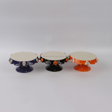 Ceramic Mini Cake stand with Halloween Icon Embossed