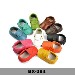 Top selling plain color baby shoes yiwu export real leather baby moccasins