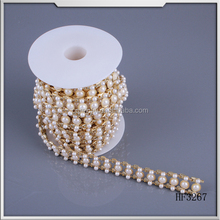 2015 pearl and brass resin cup chain roll for women dress