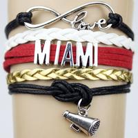 Top Quality Infinity Love MIAMI basketball Team Bracelet black red Heat Customized Wristband friendship Bracelets