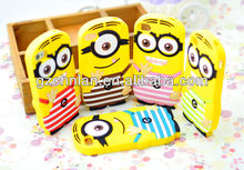 Cute 3d strip style for iphone 5 s minions silicone phone case