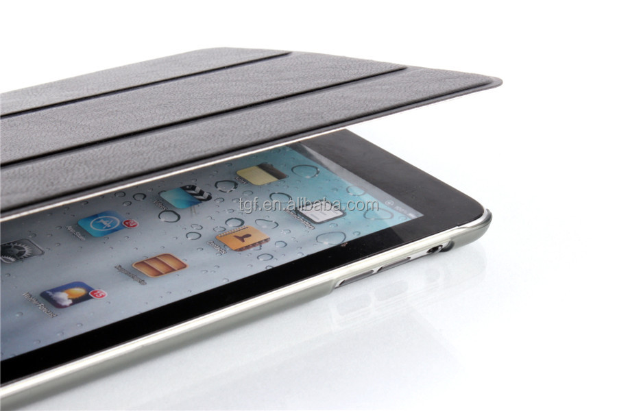 Ultra Thin Slim Light Three Fold Transparent Clear PU Leather Case For ipad Mini Stand Function Cover