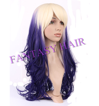 factory wholesale long curly wigs good price ombre synthetic wigs dark purple ombre wig