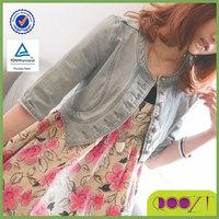 2015 Summer and autumn all-match half sleeve denim coat female short design slim light color denim top