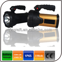 Warranty 2 year IP65 CREE XML T6 7500mAh battery handle powerful led rechargeable hunting searchlight