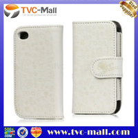 Cute Cartoon Graffitti Embossing Wallet Leather Case for iPhone 4G 4S - White