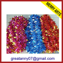 wholesale gold leaves decorated blue foil string tinsel for holiday colors