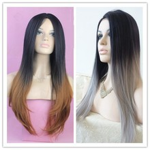 Top quality fashion straight cheap ombre black/grey /brown heat resistant synthetic wig