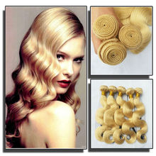 European blonde Body wave hair color 613 human hair weave lightest color human hairwholesale premium european hair weft