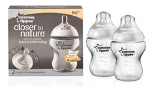 TOMMEE TIPPEE CLOSER TO NATURE 260ML / 9OZ FEEDING BOTTLES 2 PACK