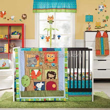 Made in China ---American style 3d embroidery baby girl embroidery cotton baby crib bedding set
