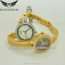 2015 wholesale mini slim round shaped quartz watch with stone from shenzhen watch manufacturer
