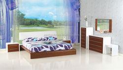 Bedroom Furniture with Walnut Veneer in White Glossy
