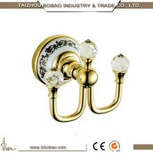 New Design Gold Color Chrome Plated Wall Mounted Bathroom Accessory Metal Ceramic Robe Hook Brass Bath Towel Bronze Cloth Hook