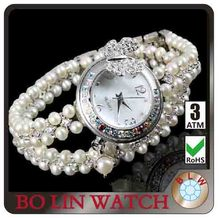 watch royal crown,ladies/true pearls chain/japan movement/water resistant/brass or steel case/cheap
