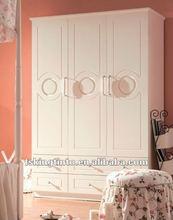 white 3-door wardrobe with drawers (608)