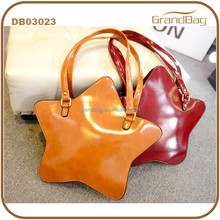 2015 New Fashion Customize Special Star Shape Waxy PU Leather Single-shoulder Bags Mochila bag Satchel