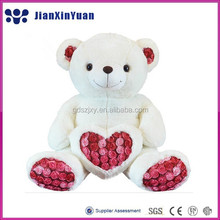 Valentines day gift soft plush teddy bear toy with heart and rose