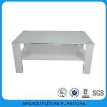 Furniture fair model high gloss wooden leg tempered glass coffee table
