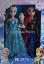 Fashion gift High quanlity Elsa & Anna & Olaf with music let it go Frozen doll toys for kids