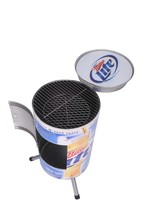 Charcoal BBQ grill can/ Barbecue bin smoker with grill