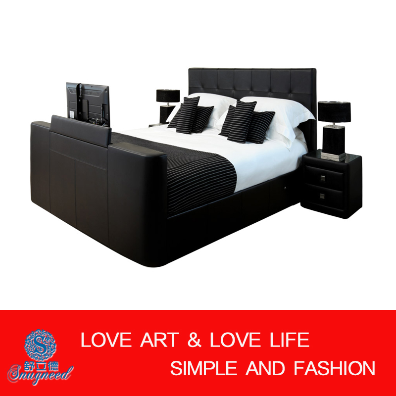 Genuine Leather Bed With Tv In Footboard Black Tv Bed King