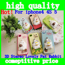 Hot!3D stereo Lovely Fat Rabbit Art Design Pretty Snap-On Protector Phone Case Cover for New Apple for iphone 4 4s 5