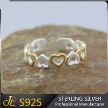 Neswest 925 Sterling Silver Jewelry Double Color Two Tone Love Hearts Open Finger Ring