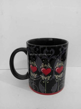 Promotion Black White Ceramic Mug with heart
