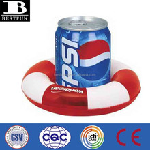 promotional custom inflatable pool floating drink holder single beer can holder