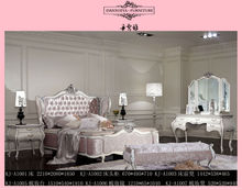 High headboard with pink velvet crystal button king size queen size bedroom set