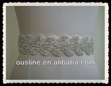 wedding dress rhinestone belt trim appliques, rhinestone applique motif, applique for bridal