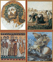 professional mosaic factory and mosaic drawing,figure painting made by marble onyx mosaic