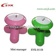 nueva caliente colorido mini portátil de masaje 3 con cabezas de masaje