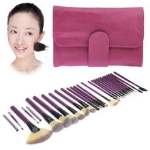 Foldable Cosmetic Brush Case PU Leather Bag Kit Set for Ladies / 26pcs Brushes Facial Care Product