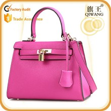 Autumn/spring Leather Fashion bag for girl with lock pink color