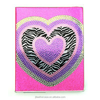 Shenzhen manufacture Diamonds Heart Pu leather cases for ipad stand foldable cover for iPad 2/3/4