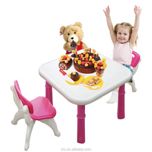 latest blue or rose red kingdom traditional children table and chairs set kids plastic chair