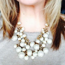 2015 wholesale western newest chain knit lates pearl chain necklace
