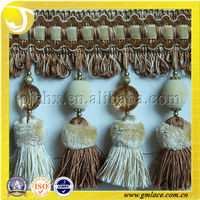 Fashion Curtain Frills with Pompom Tassel Fringe used for Cushions, Upholstery,Tapestry,Sofa and Accessory Decoration