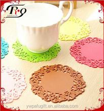 candy color creative round hollow out insulation felt cup coaster
