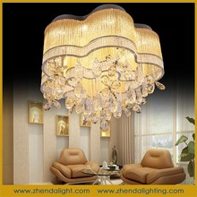 New design wedding flower LED crystal ceiling lamp & pendant chandelier with twisted hollow champagne gold glass pipe