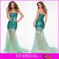 Prom Chica Verde Sequin Top Mermaid sobrefalda de tul con cuentas sexy vestido de fiesta pd176