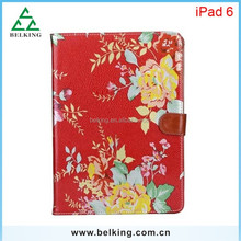 Retro leather case for ipad 6, for ipad flower stand case, flower flip leather case for ipad 6 air 2